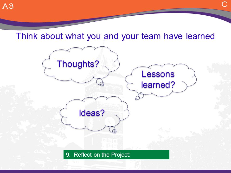 Think about what you and your team have learned