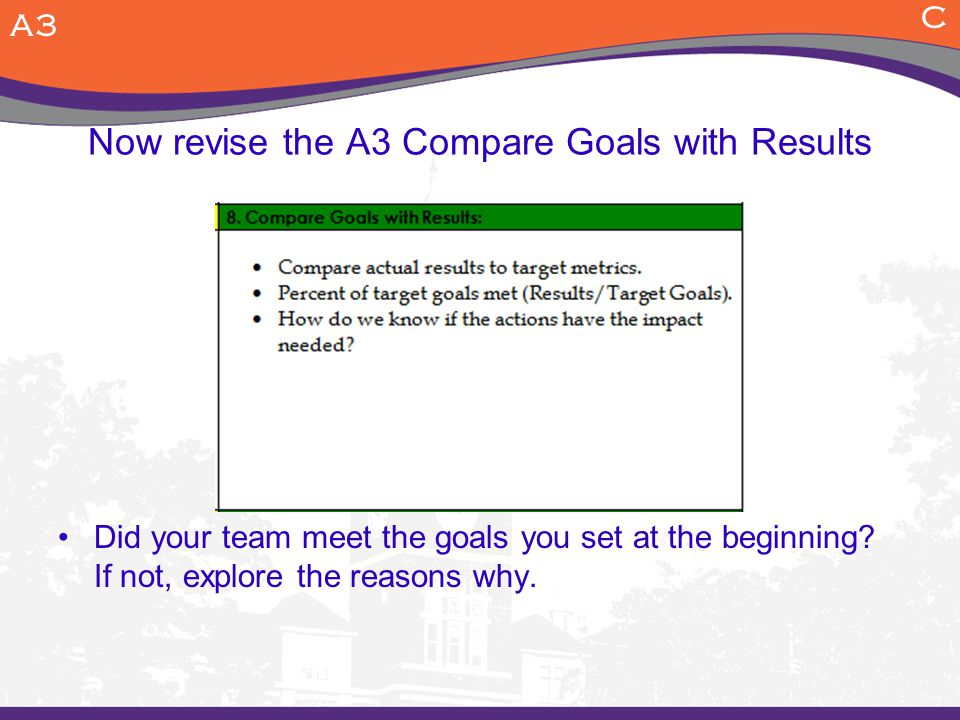 Now revise the A3 Compare Goals with Results
