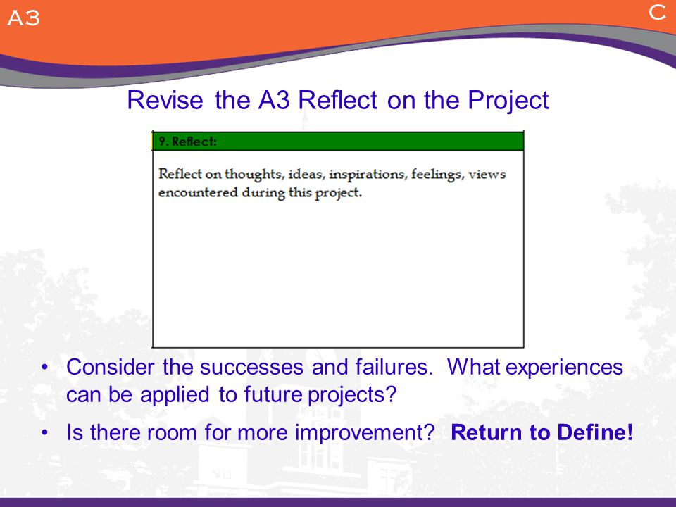 Revise the A3 Reflect on the Project