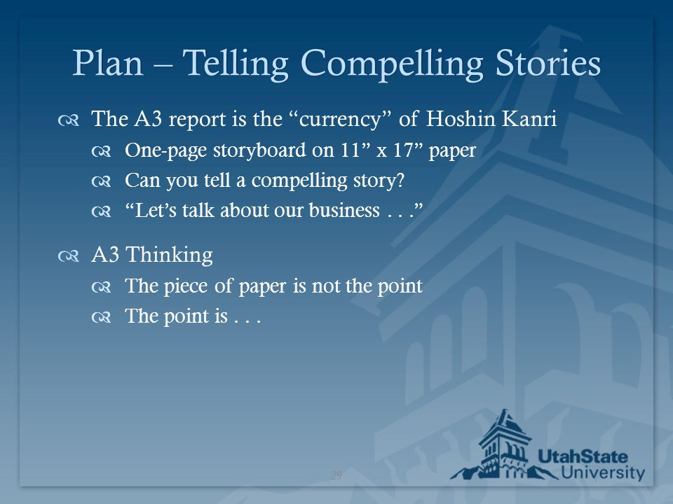Plan – Telling Compelling Stories