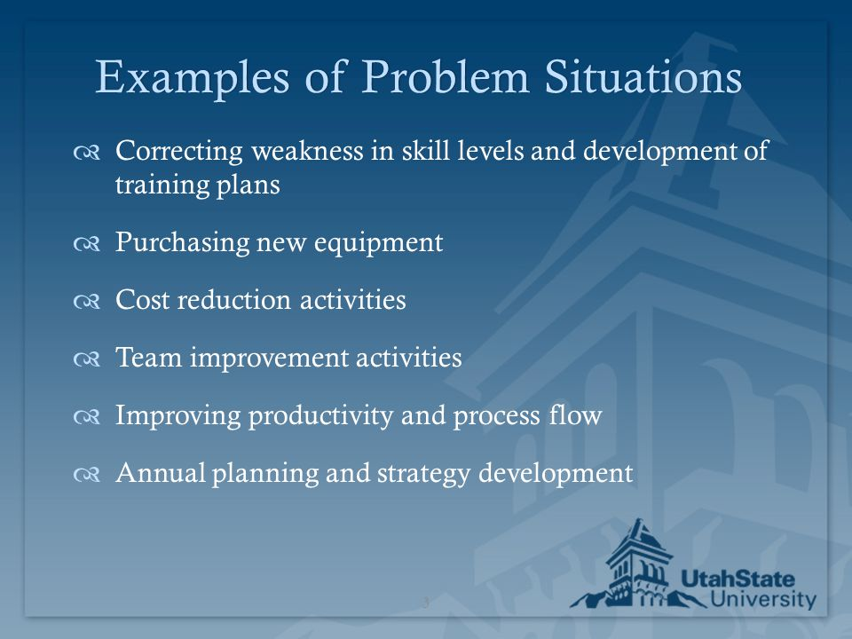 Examples of Problem Situations