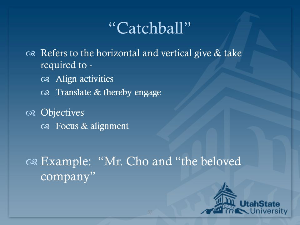 Catchball Example: Mr. Cho and the beloved company