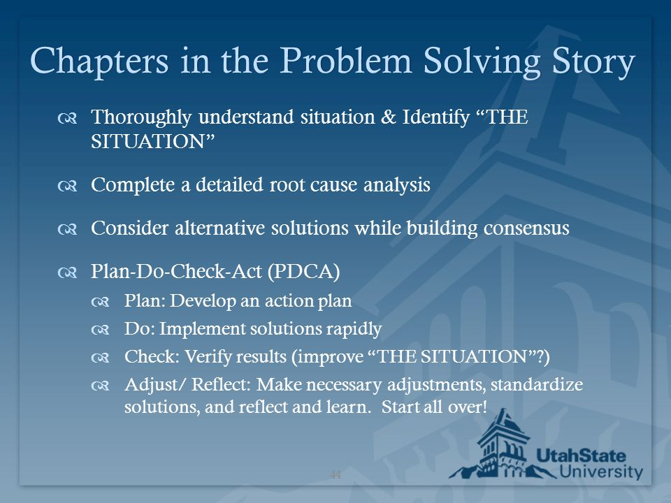 Chapters in the Problem Solving Story