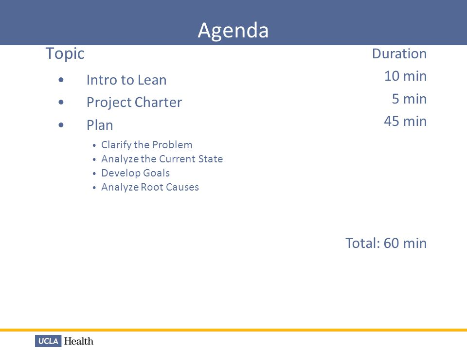 Agenda Topic Duration 10 min Intro to Lean 5 min Project Charter