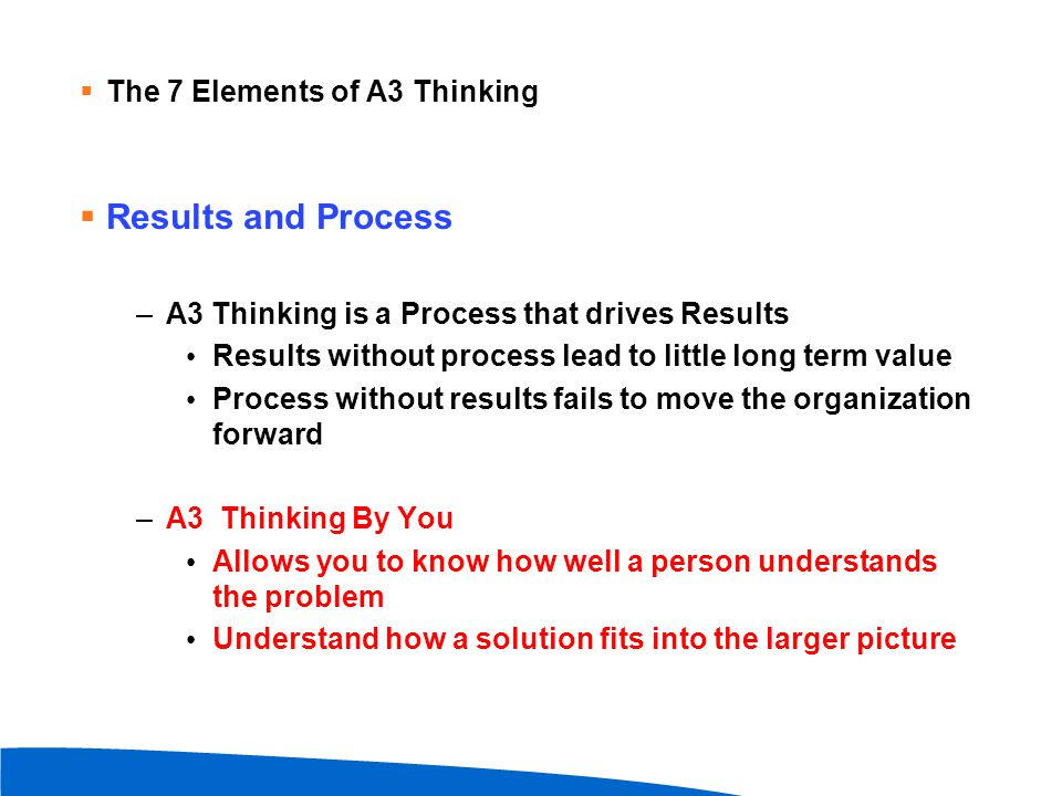 Results and Process The 7 Elements of A3 Thinking