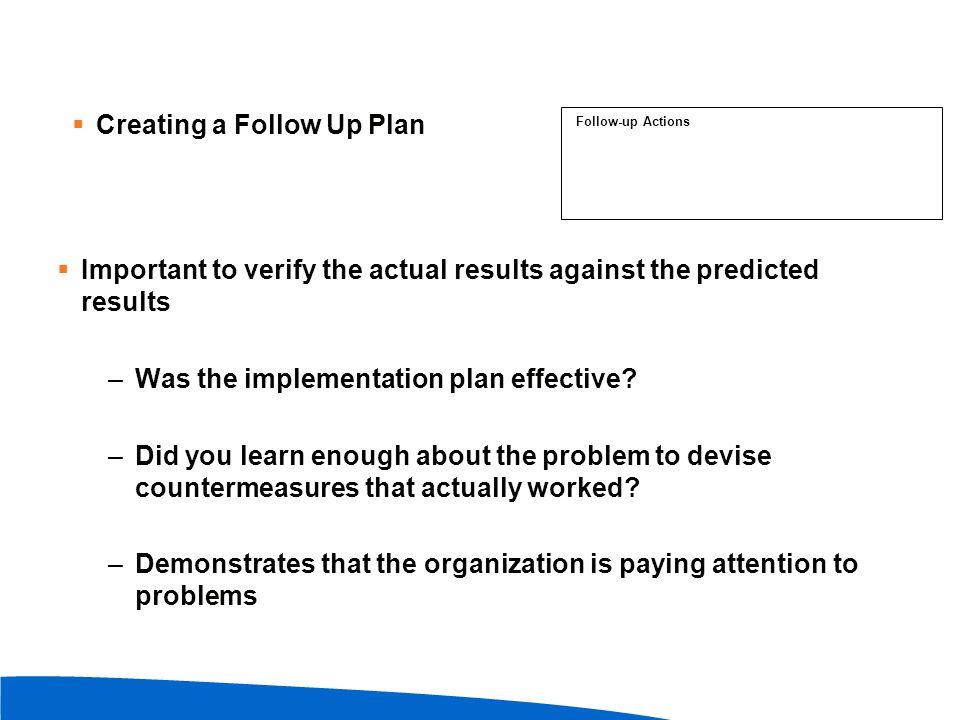 Creating a Follow Up Plan