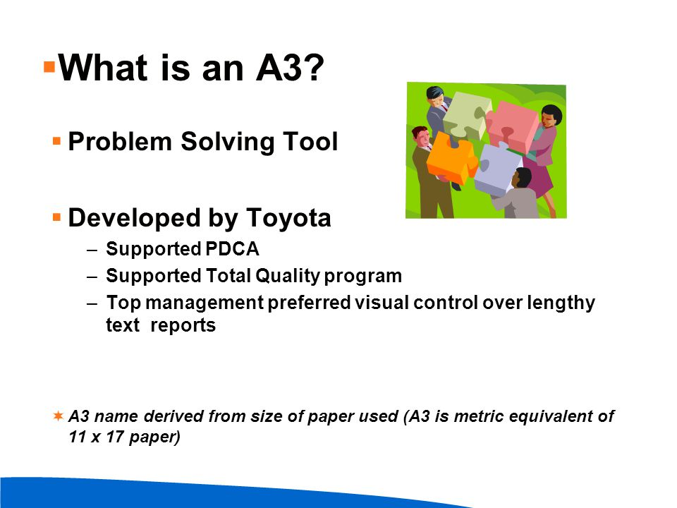What is an A3 Problem Solving Tool Developed by Toyota Supported PDCA