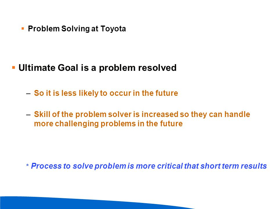 Ultimate Goal is a problem resolved