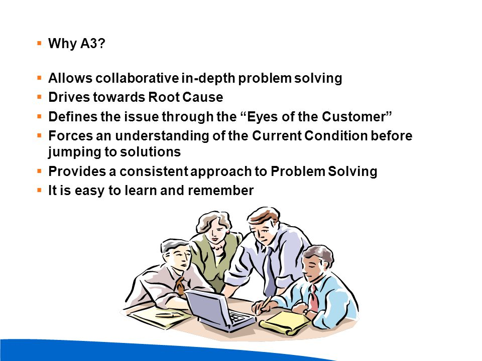 Why A3 Allows collaborative in-depth problem solving. Drives towards Root Cause. Defines the issue through the Eyes of the Customer