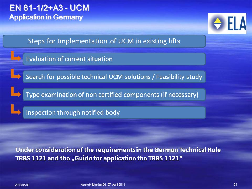 Steps for Implementation of UCM in existing lifts