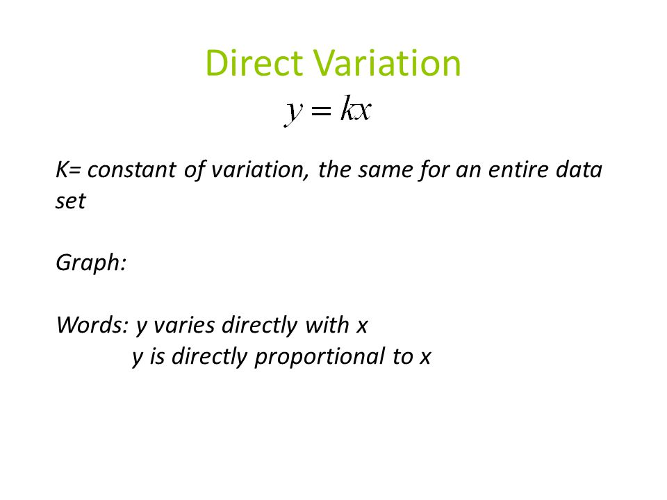 Direct Variation K= constant of variation, the same for an entire data set. Graph: Words: y varies directly with x.