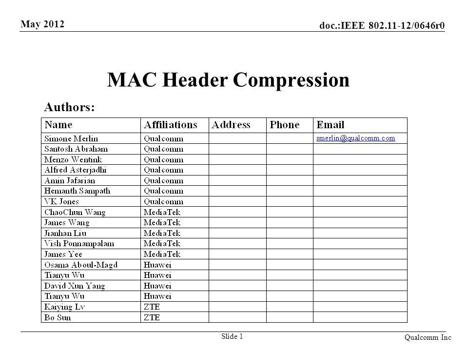 MAC Header Compression