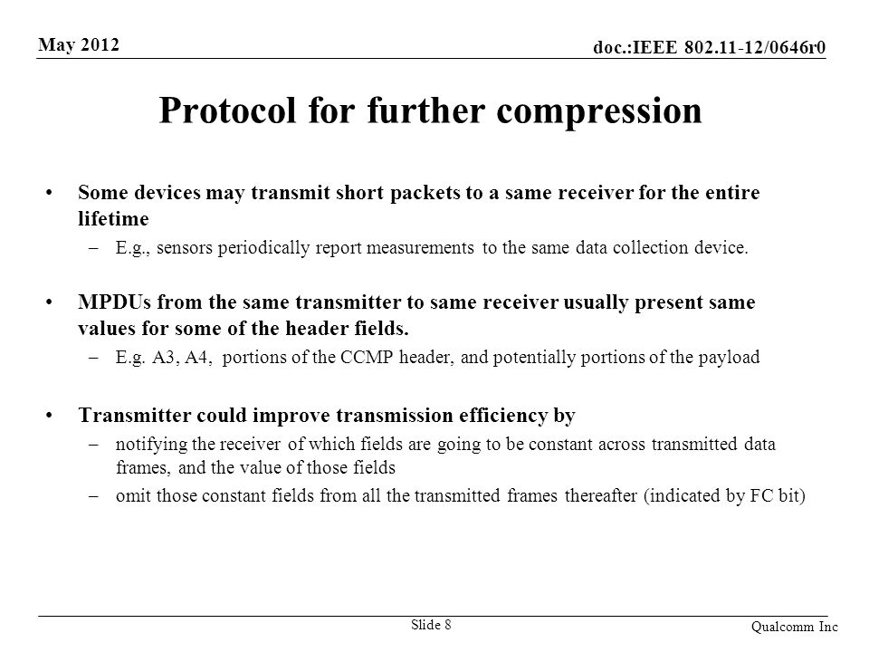 Protocol for further compression