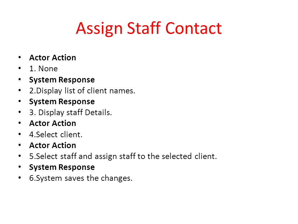 Assign Staff Contact Actor Action 1. None System Response