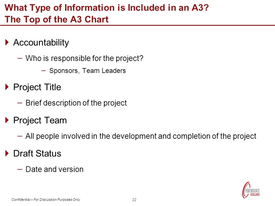 What Type of Information is Included in an A3 The Top of the A3 Chart