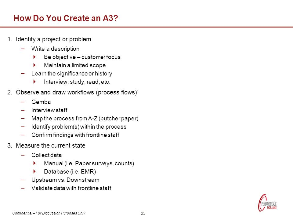 How Do You Create an A3 1. Identify a project or problem
