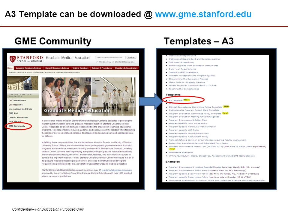 A3 Template can be downloaded @ www.gme.stanford.edu