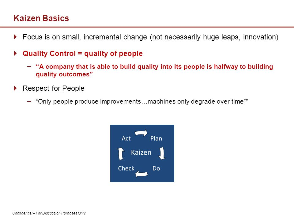 Kaizen Basics Focus is on small, incremental change (not necessarily huge leaps, innovation) Quality Control = quality of people.