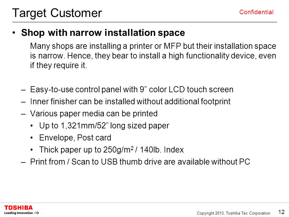 Target Customer Shop with narrow installation space
