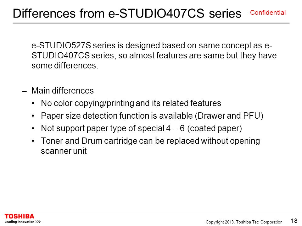 Differences from e-STUDIO407CS series