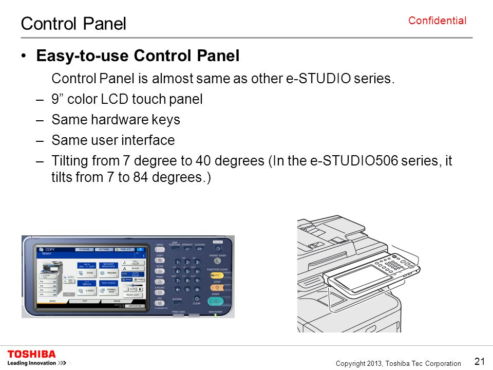 Control Panel Easy-to-use Control Panel