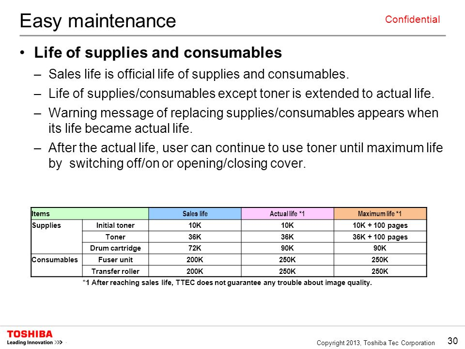 Easy maintenance Life of supplies and consumables
