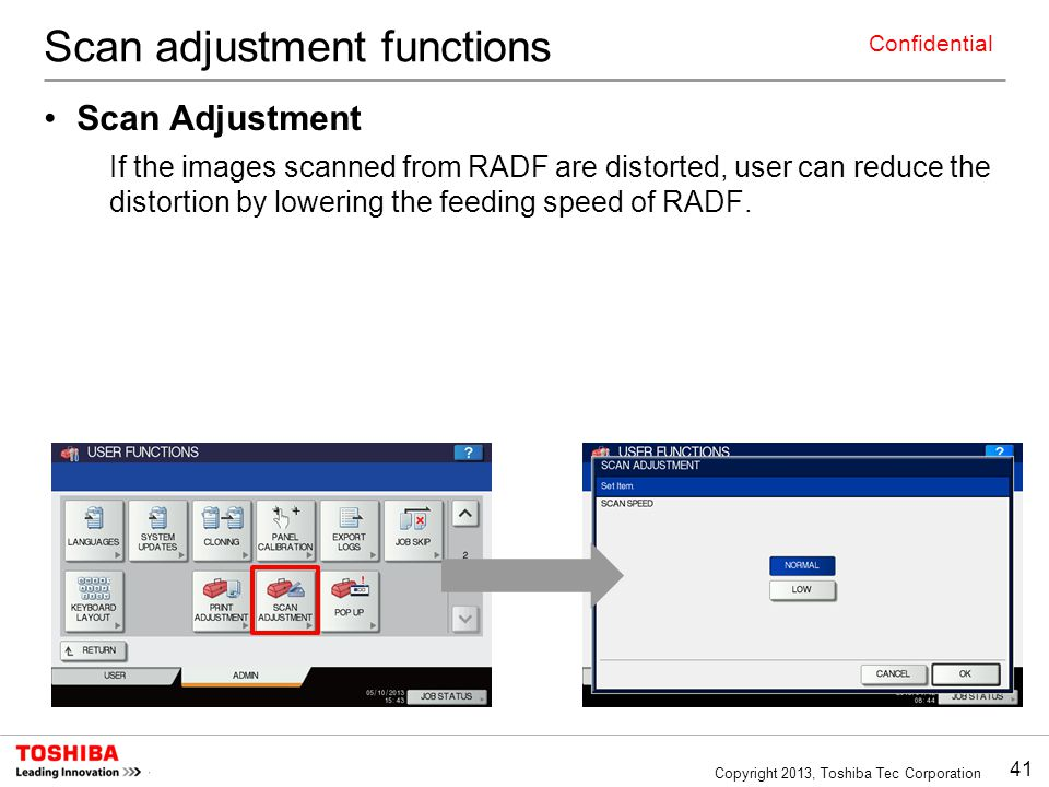 Scan adjustment functions
