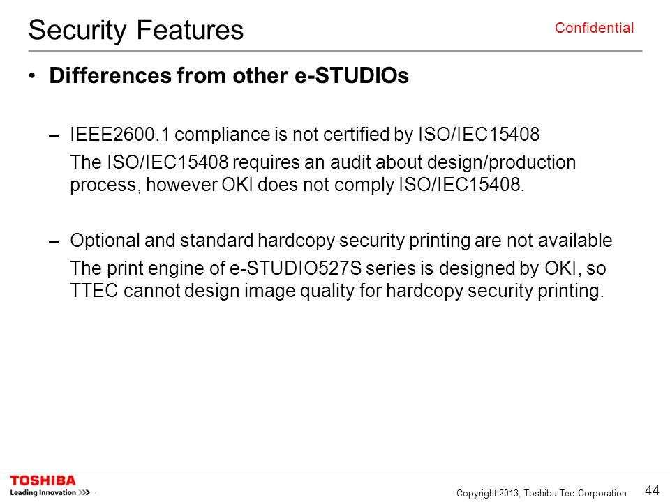 Security Features Differences from other e-STUDIOs