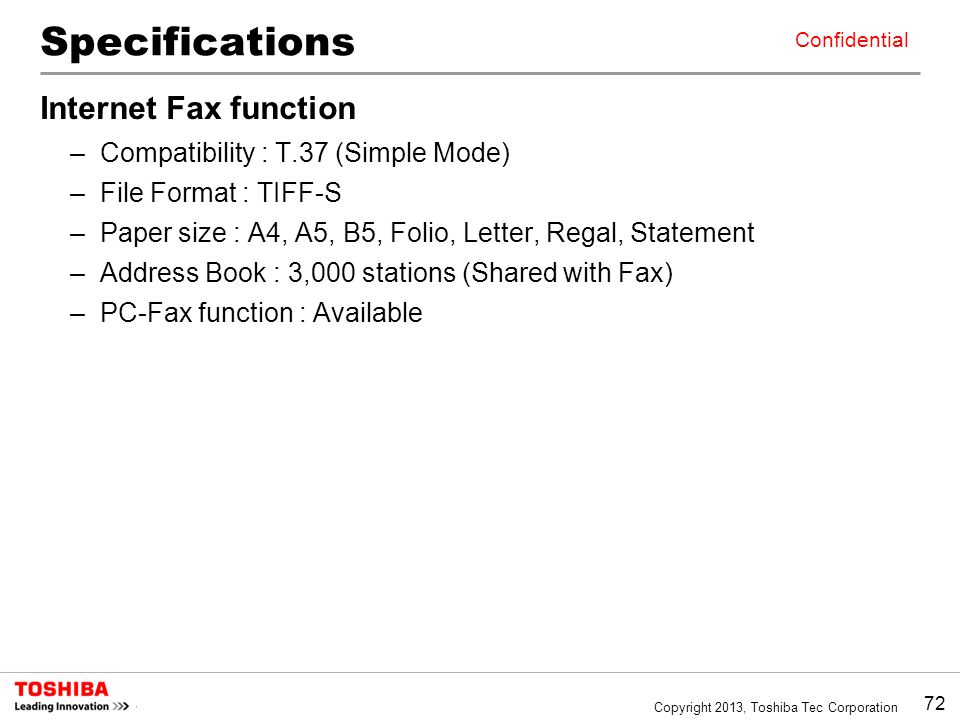 Specifications Internet Fax function