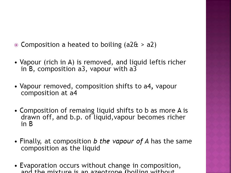 Composition a heated to boiling (a2& > a2)