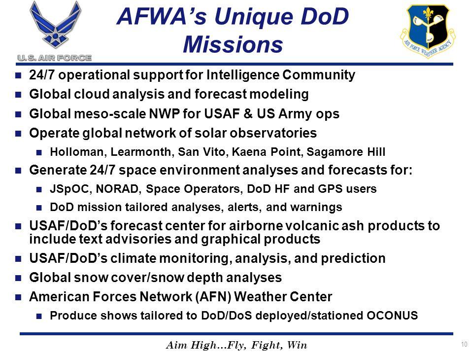 AFWA's Unique DoD Missions