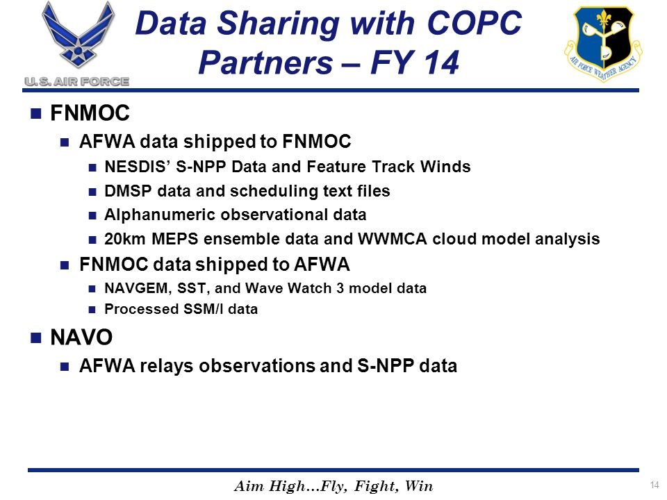 Data Sharing with COPC Partners – FY 14