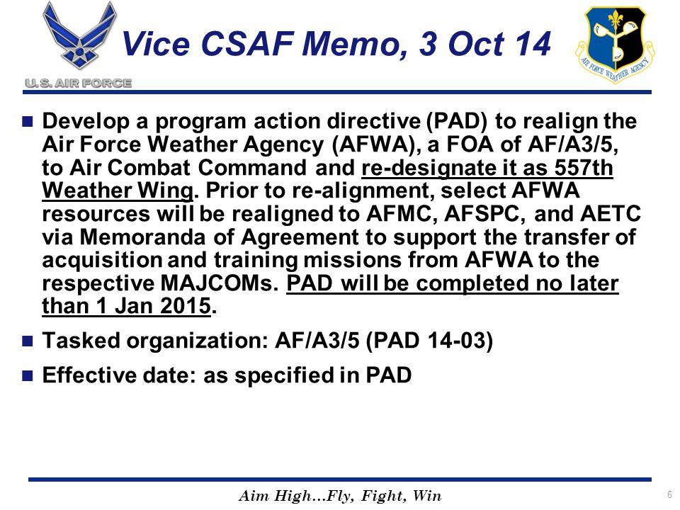 Vice CSAF Memo, 3 Oct 14