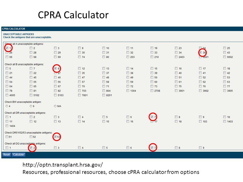 CPRA Calculator http://optn.transplant.hrsa.gov/