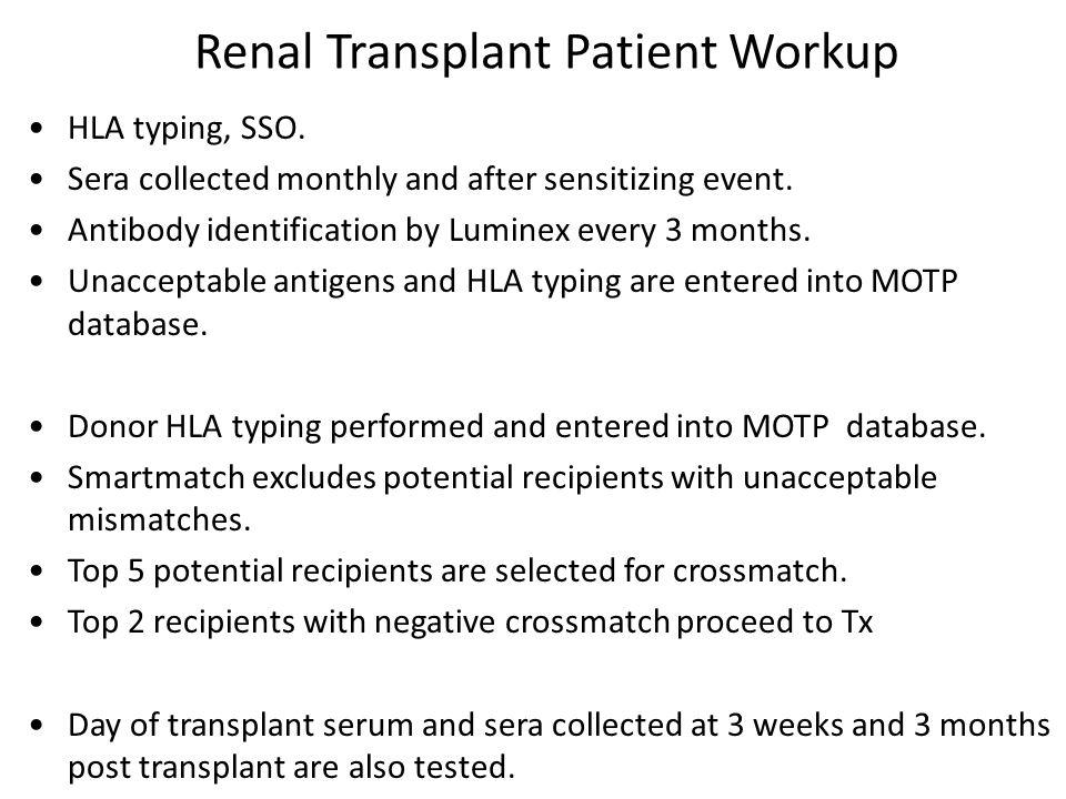 Renal Transplant Patient Workup