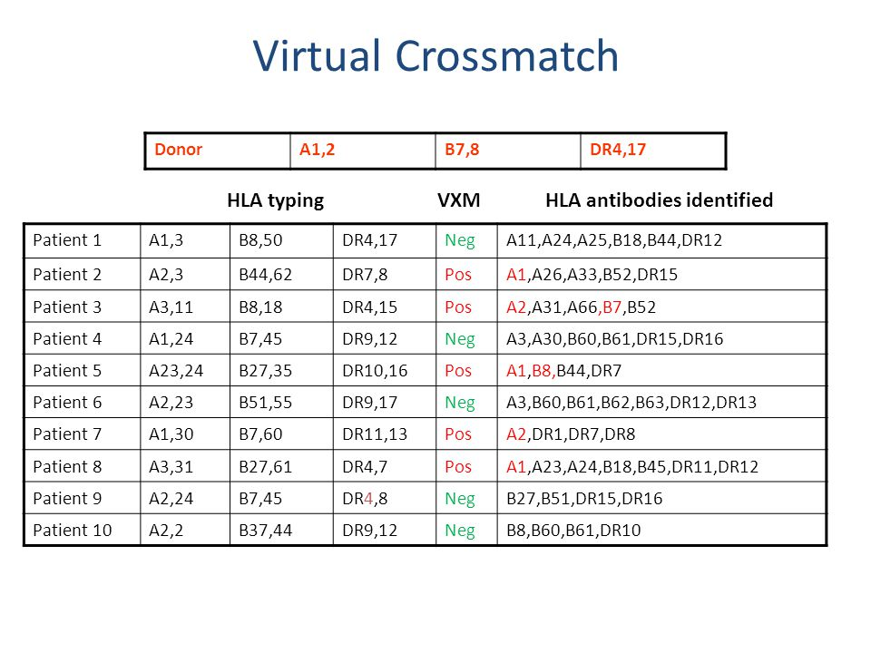 HLA antibodies identified