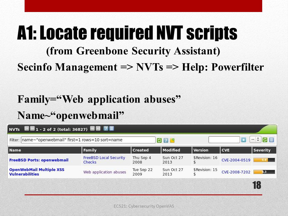 A1: Locate required NVT scripts