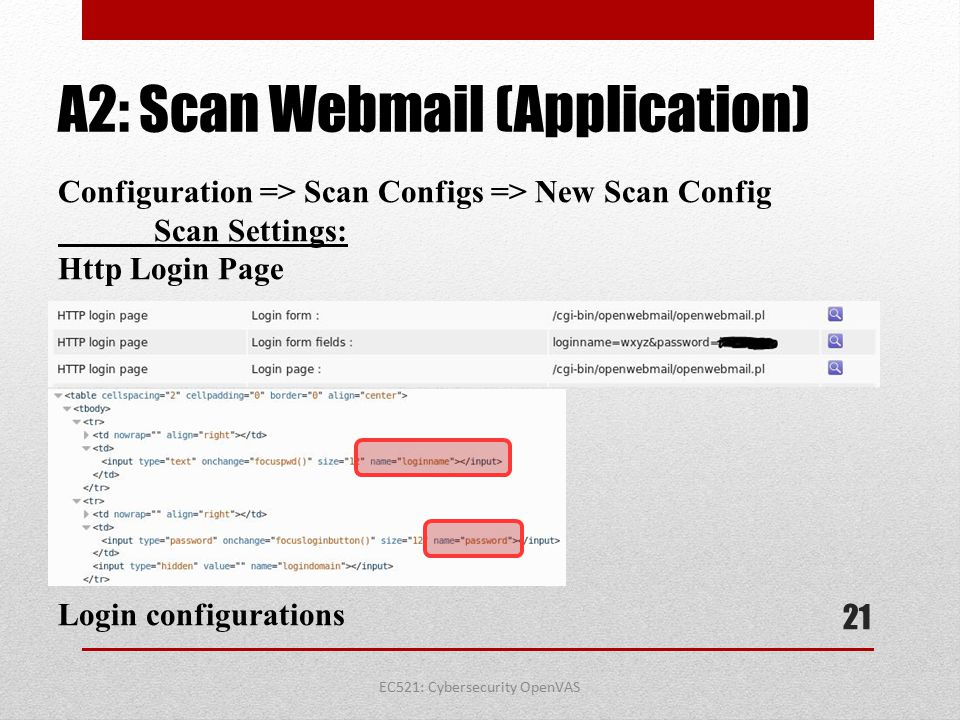 A2: Scan Webmail (Application)