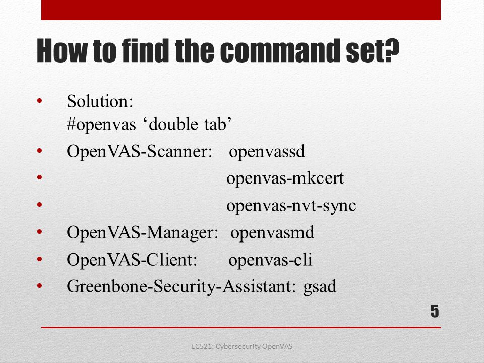 How to find the command set