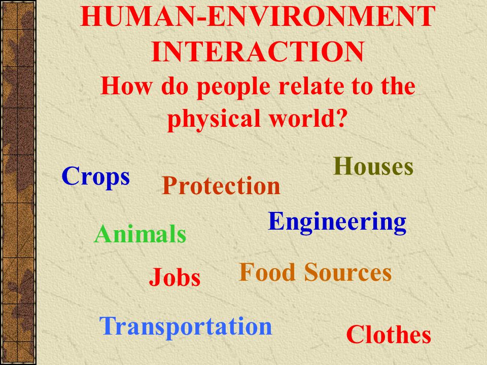 HUMAN-ENVIRONMENT INTERACTION How do people relate to the physical world