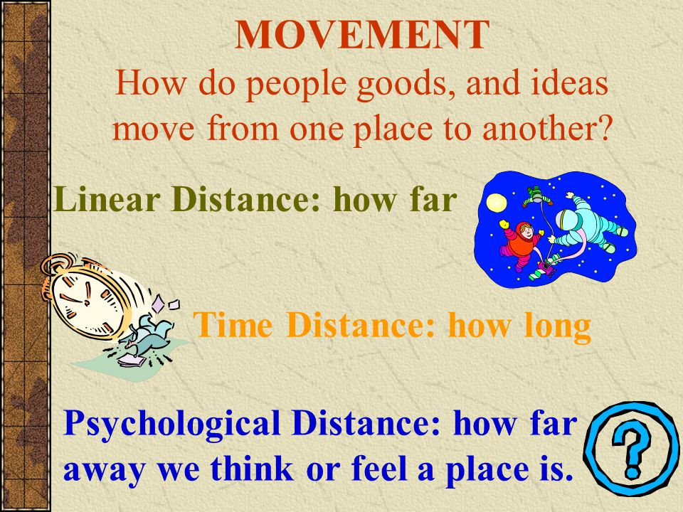 MOVEMENT How do people goods, and ideas move from one place to another