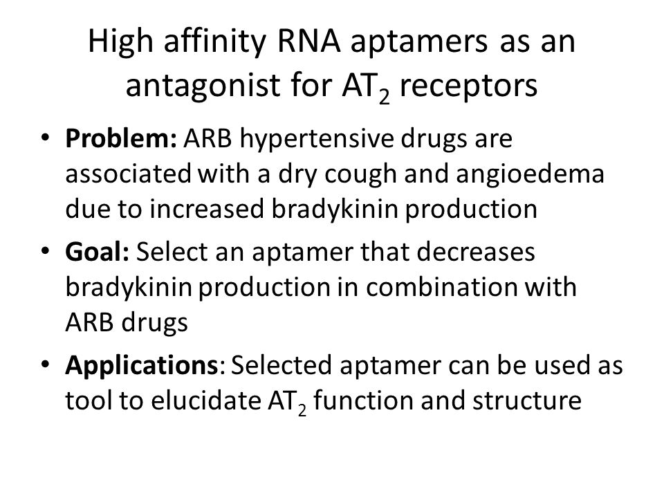 High affinity RNA aptamers as an antagonist for AT2 receptors