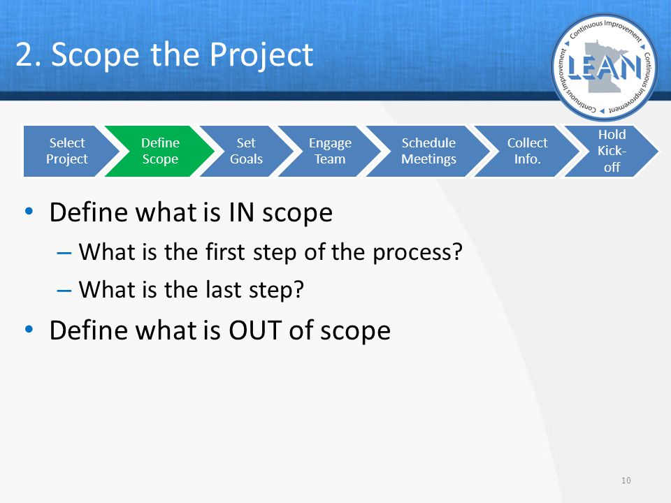 2. Scope the Project Define what is IN scope