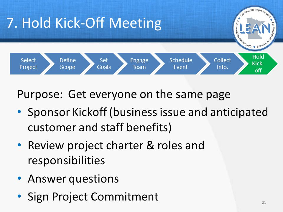 7. Hold Kick-Off Meeting Purpose: Get everyone on the same page