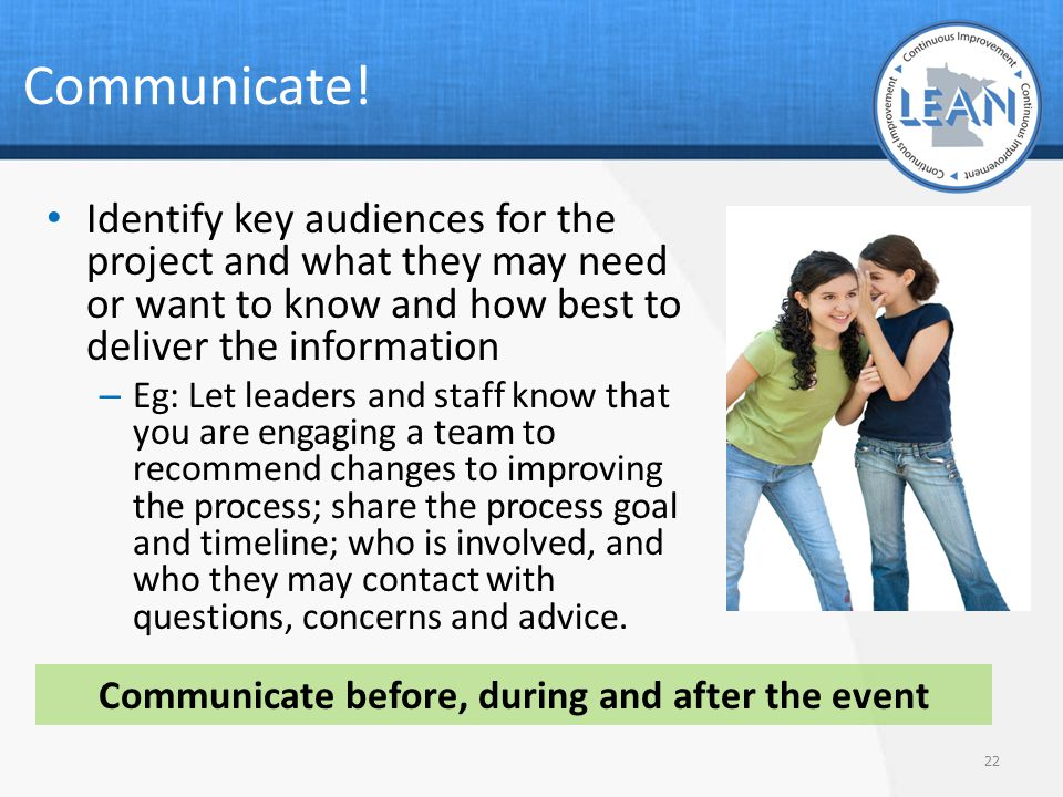 Communicate before, during and after the event