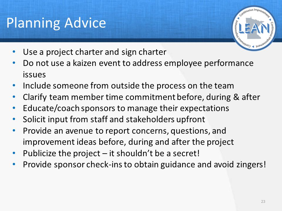 Planning Advice Use a project charter and sign charter
