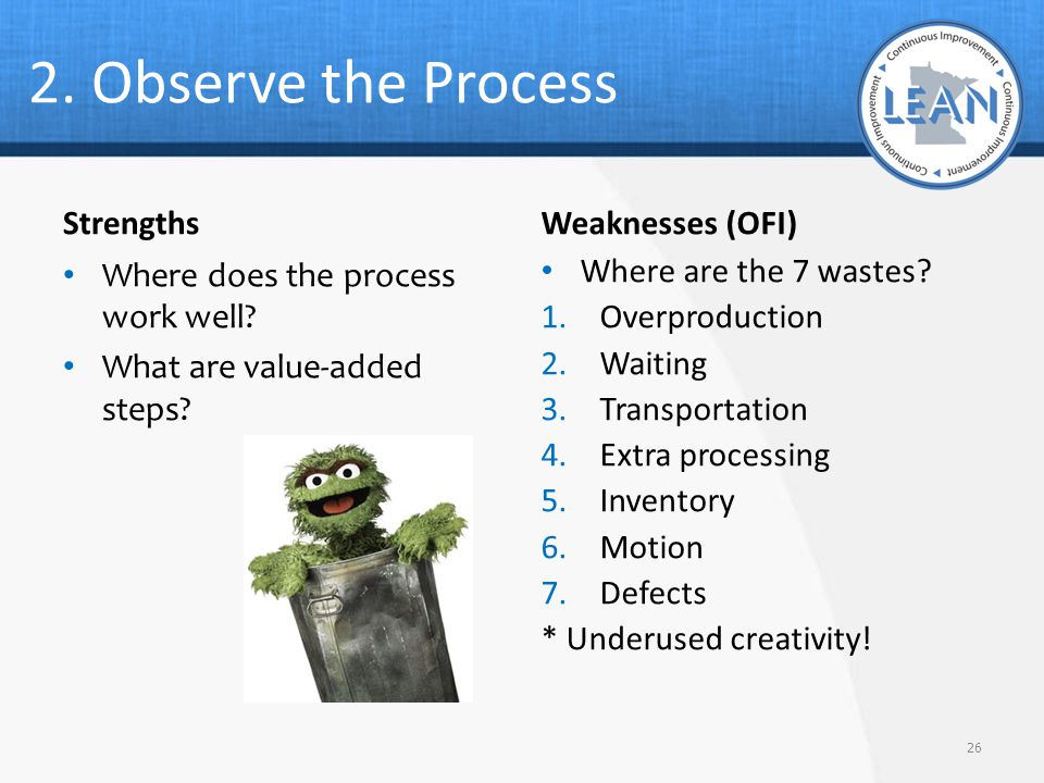 2. Observe the Process Strengths Weaknesses (OFI)