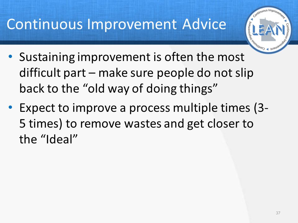 Continuous Improvement Advice