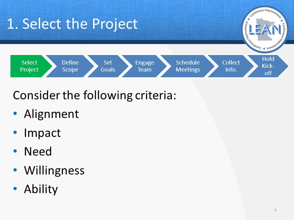 1. Select the Project Consider the following criteria: Alignment