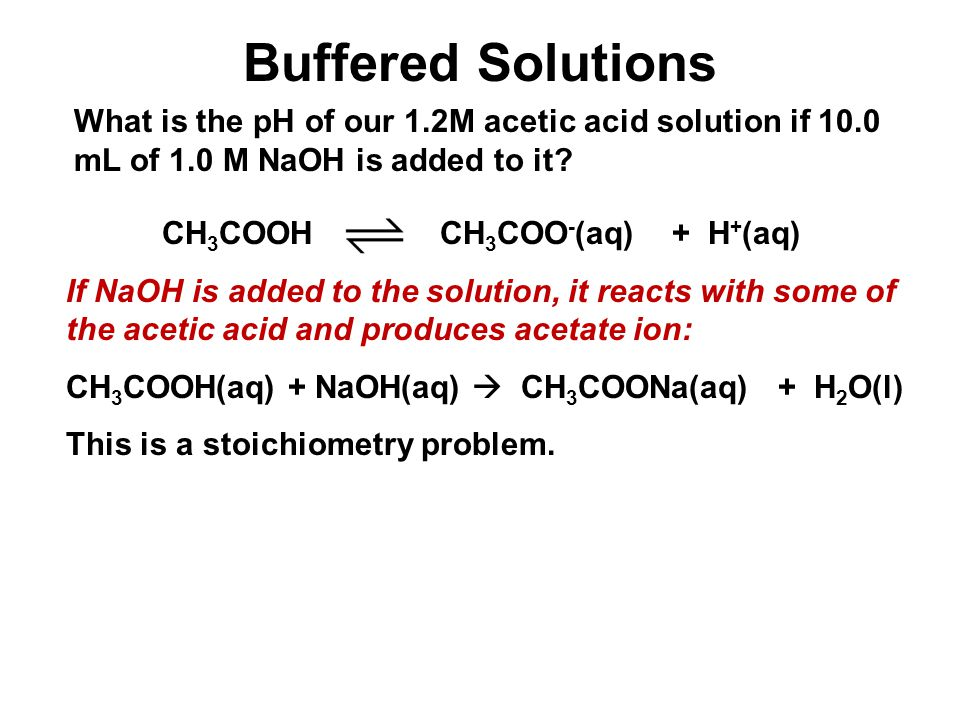 Unit 4-5: Acids and Bases 3 Buffered Solutions. What is the pH of our 1.2M acetic acid solution if 10.0 mL of 1.0 M NaOH is added to it